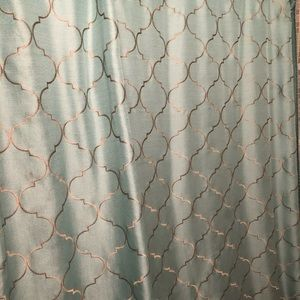 Teal and Gold shower curtain